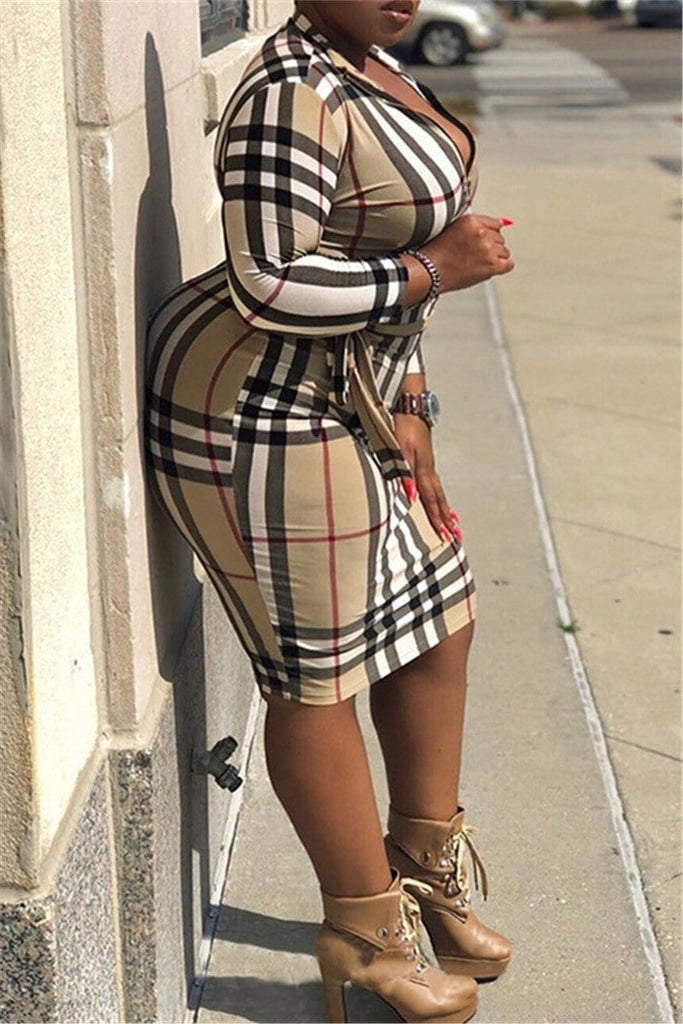 Sexy Fashion Plaid Long Sleeved Dress (With Belt)