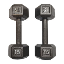Load image into Gallery viewer, ISF 15LB Cast Iron Dumbbells w/ Knurled Handles by I Sell Fitness