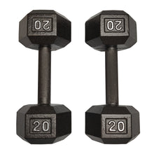 Load image into Gallery viewer, ISF 20LB Cast Iron Dumbbells w/ Knurled Handles by I Sell Fitness
