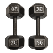 Load image into Gallery viewer, I Sell Fitness (ISF) 30 LB Dumbbells Pair Cast Iron Hex