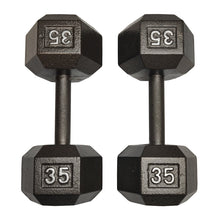 Load image into Gallery viewer, ISF 35LB Cast Iron Dumbbells w/ Knurled Handles by I Sell Fitness