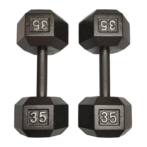 ISF 35LB Cast Iron Dumbbells w/ Knurled Handles by I Sell Fitness