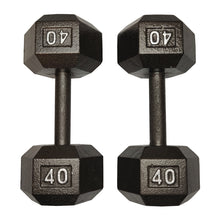 Load image into Gallery viewer, ISF 40LB Cast Iron Dumbbells w/ Knurled Handles by I Sell Fitness