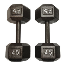 Load image into Gallery viewer, ISF 45LB Cast Iron Dumbbells w/ Knurled Handles by I Sell Fitness