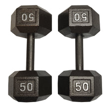 Load image into Gallery viewer, ISF 50LB Cast Iron Dumbbells w/ Knurled Handles by I Sell Fitness