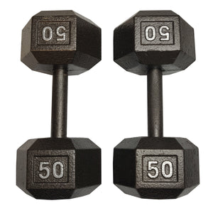 ISF 50LB Cast Iron Dumbbells w/ Knurled Handles by I Sell Fitness
