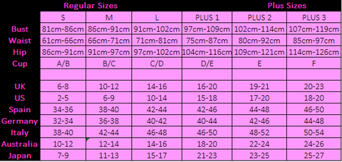 LVS La Vie Sexuelle womens size chart for lingerie kink australia couple naughty