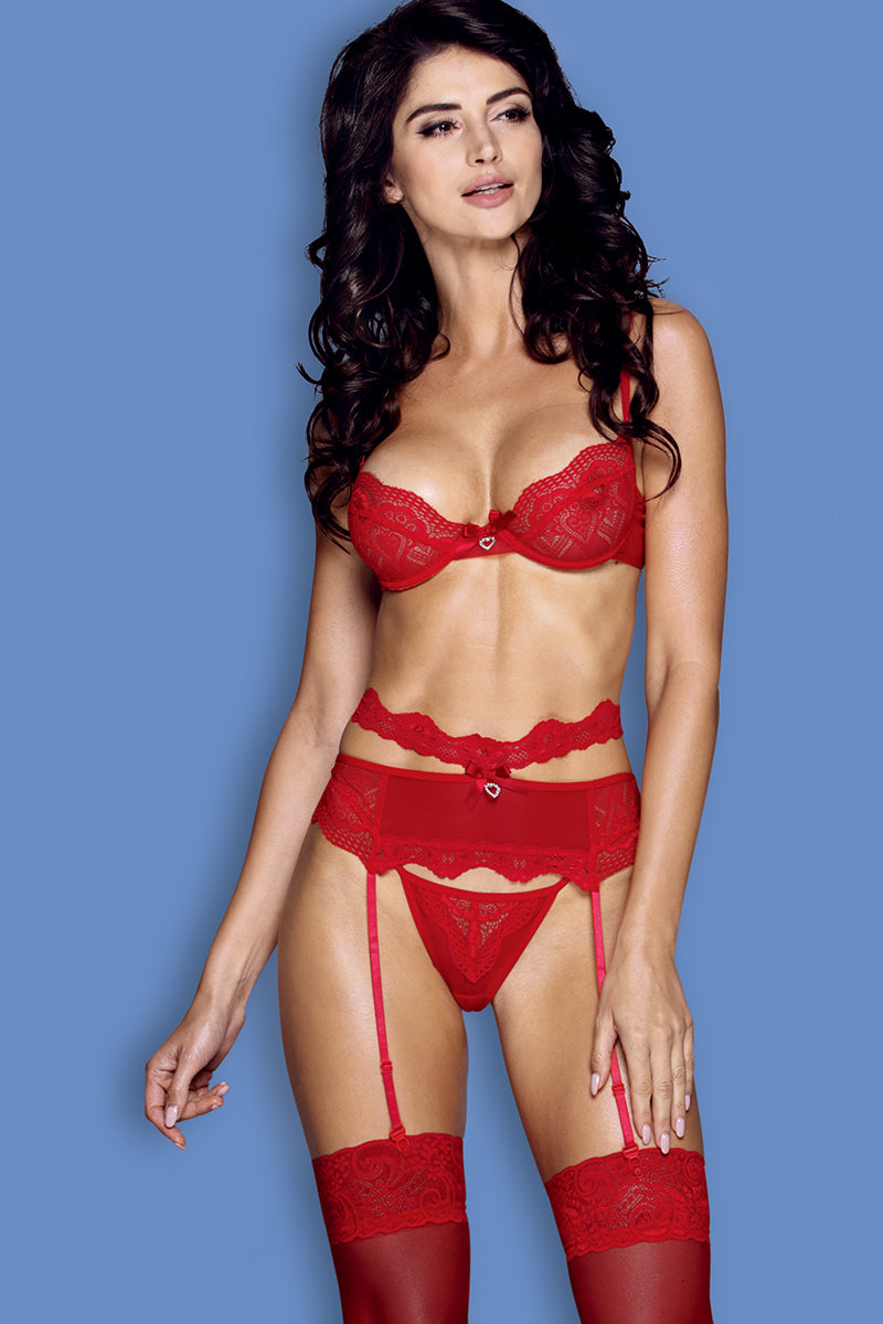 Front | Seductive Red Four-Piece Lingerie set | LVS Australia