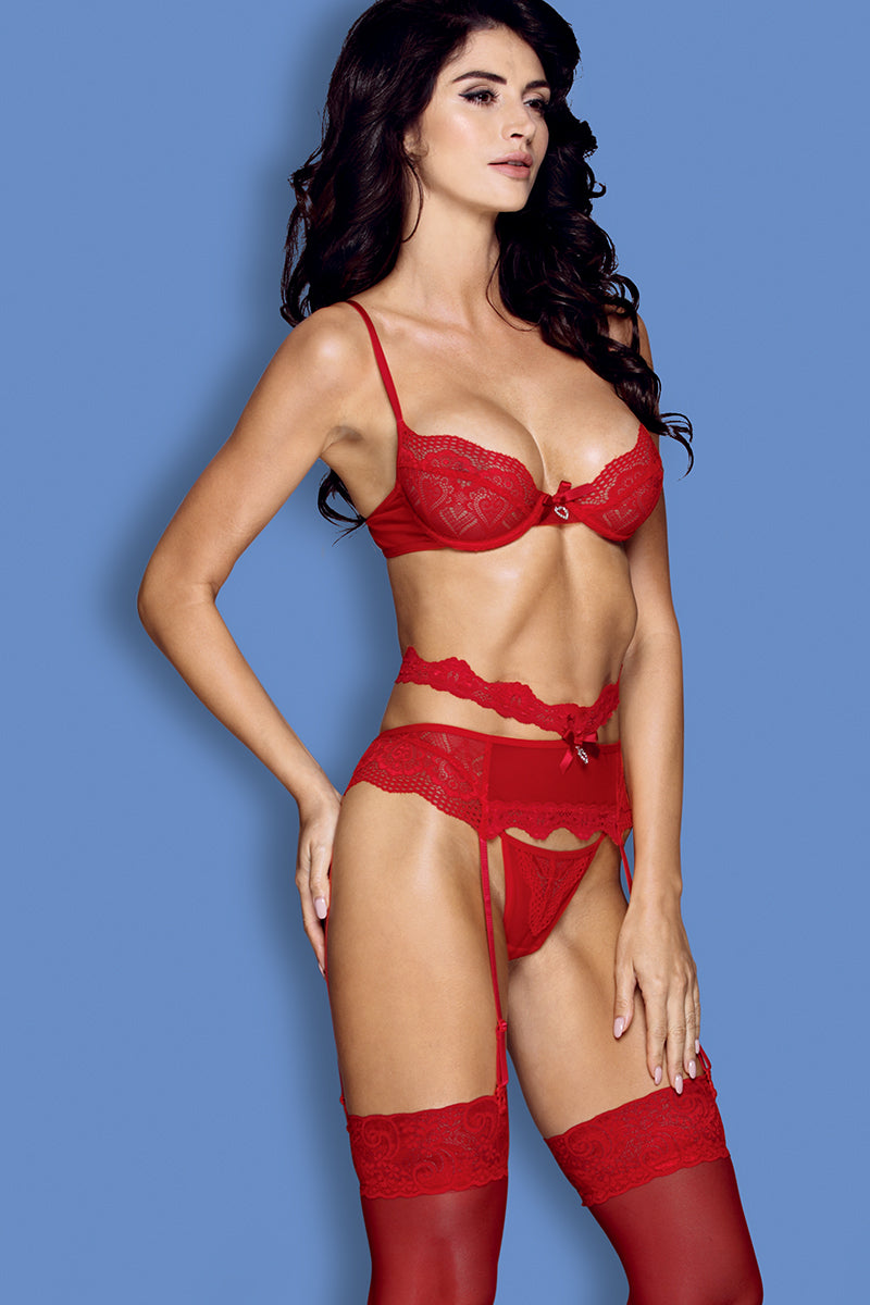 Profile | Seductive Red Four-Piece Lingerie set | LVS Australia