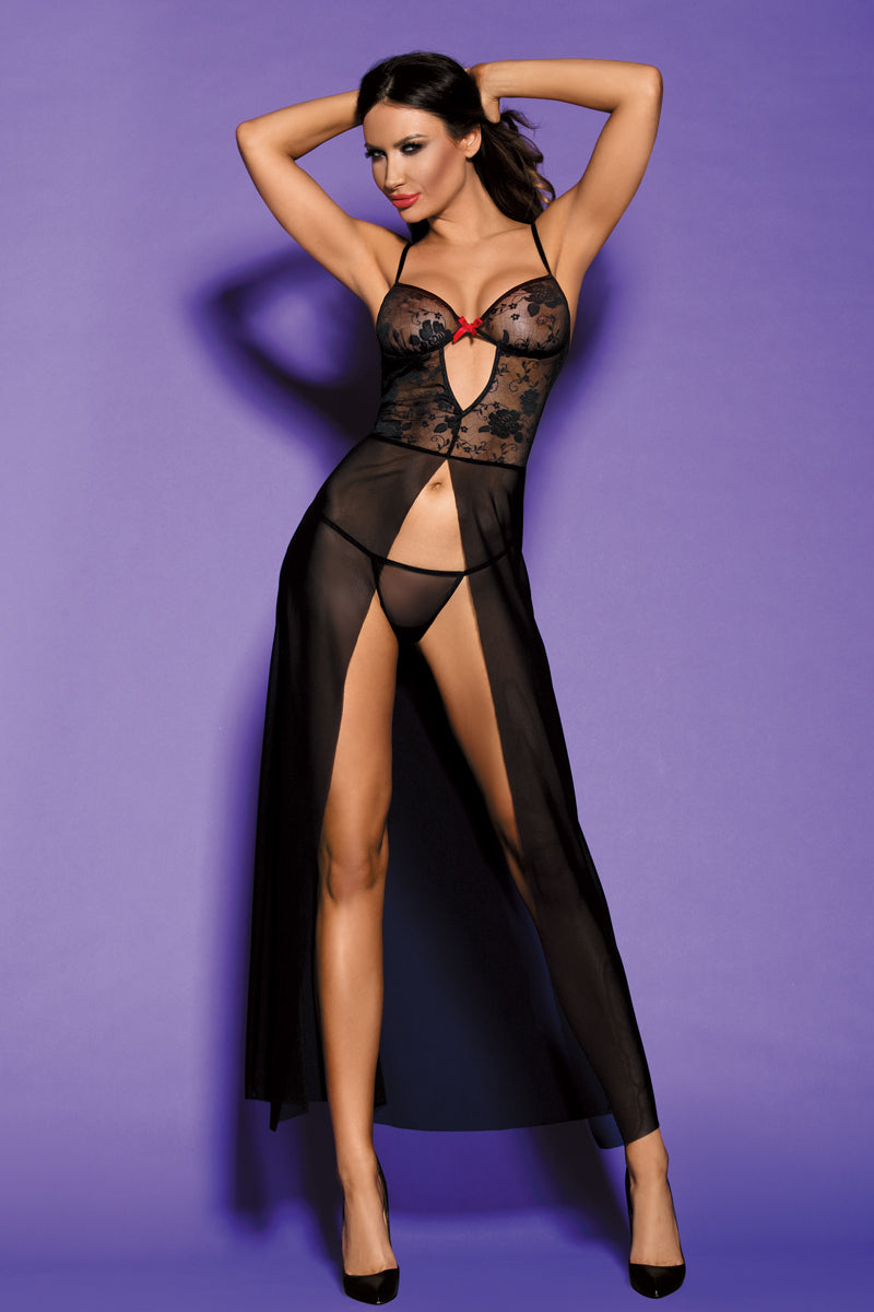 front | Elegant Black Embroidered Gown Lingerie Set | Australia