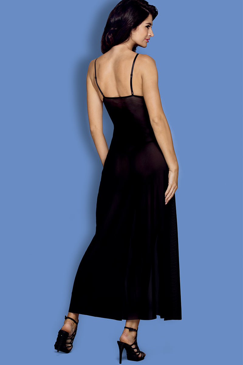 Front | Alluring Black Embroidered Gown Lingerie | LVS Australia
