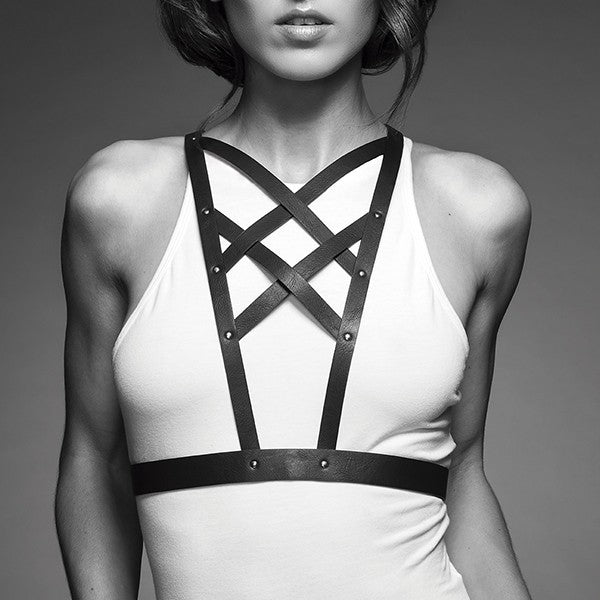 la-vie-sexuelle - Cross cleavage harness | Maze | Black | 100% vegan | Bare skin - Maze - Accessories