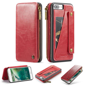CaseMe iPhone 7 Plus/8 Plus Business Zipper Wallet Detachable 2 in 1 Case
