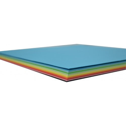 Rainbow Premium Matt Paper Kinder Squares 80GSM Double Sided 254mm 120 Sheets Per PVC Box Assorted