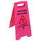 Caution Wet Floor / Cleaning in Progress Caution Sign Pink