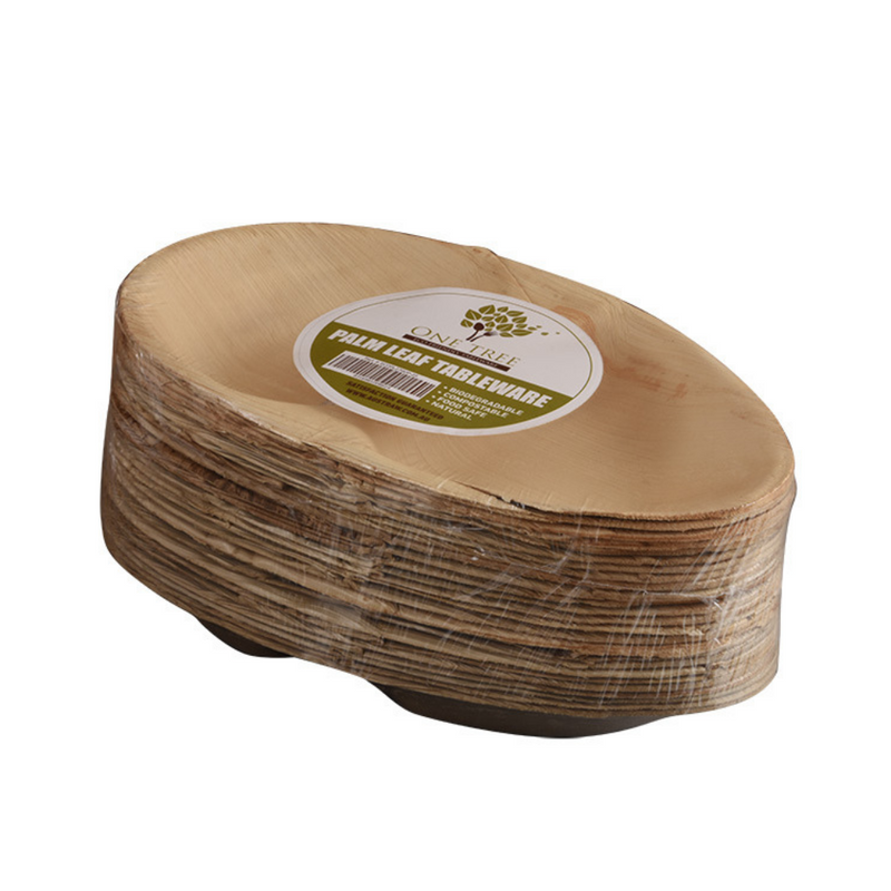 One Tree Palm Leaf 2-Compartment Plate – 100 Pack