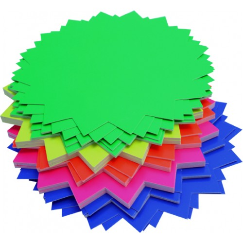 Rainbow Fluro Board Starburst 290GSM Single Sided 205mm 60 Sheets