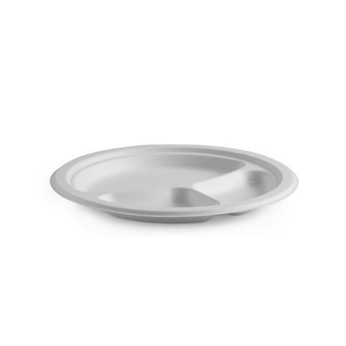 3-Compartment BioPak Round BioCane Plate - 10 inches