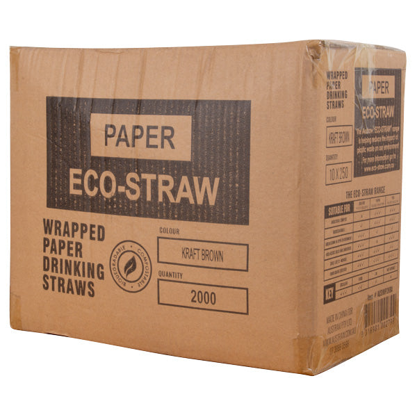 Eco-Straw - Paper Wrapped - Kraft Brown - 2000 Pack - FSC Mix 70%