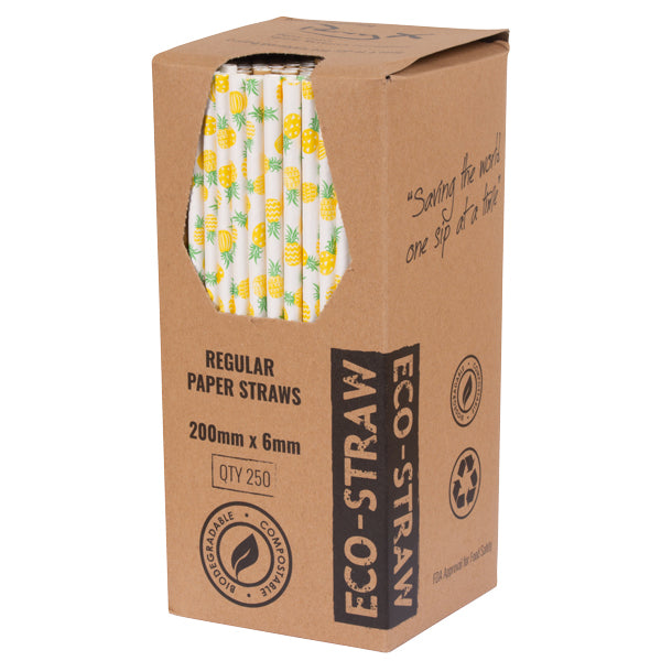 Eco-straw - Paper Regular - 2500 Pack (10x250) - Pineapple - FSC -Mix 70%