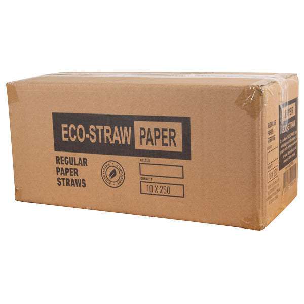 Eco-Straw - Paper Regular - 2500 Pack (10x250) - Silver/White - FSC Mix 70%