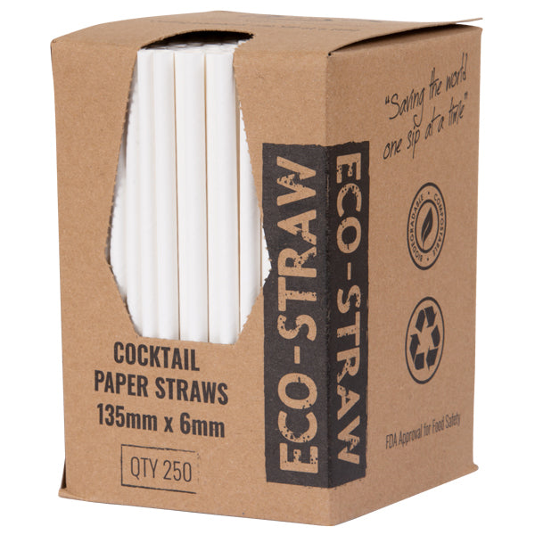 Eco-Straw - 3ply Paper Cocktail Straw - 2500 Pack (10x250) - Plain White