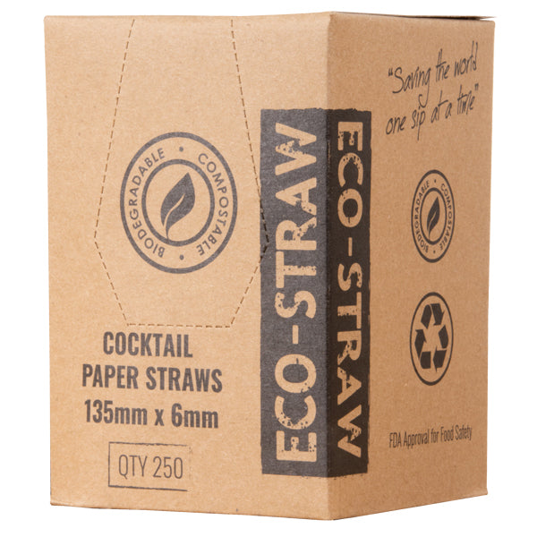 Eco-Straw - 3ply Paper Cocktail Straw - 2500 Pack (10x250)) - Blue/White - FSC Mix 70%