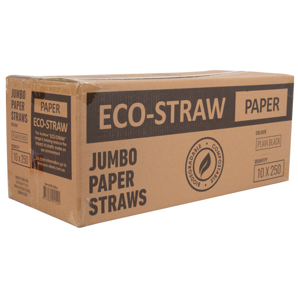 Eco-Straw - Paper Jumbo - 2500 Pack (10x250) - Plain Black - FSC Mix 70%