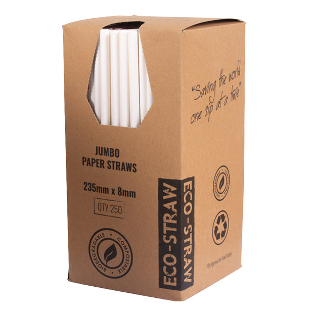 Eco-Straw - Paper Jumbo -  2500 Pack (10x250) - Plain White - FSC Mix 70%