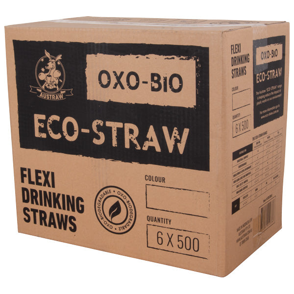 Eco-Straw - Oxi-Bio - Flexi Straw - Mixed Colours - 3000 Pack (6x500)