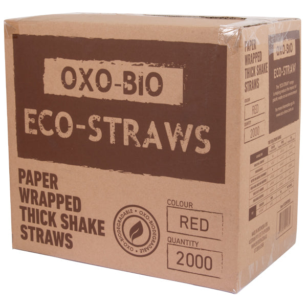 Eco-Straw - Oxi-Bio Paper Wrap Thick Shake Straw - Red - 2000 Pack