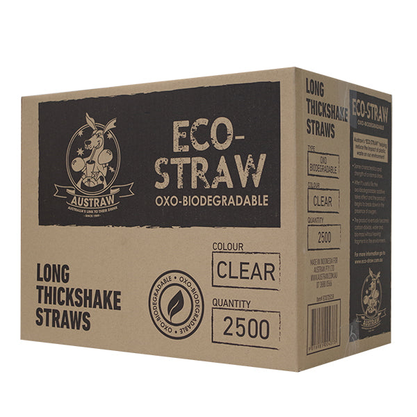 Eco-Straw - Oxi-Bio Long Thick Shake - Clear - 2500 Pack