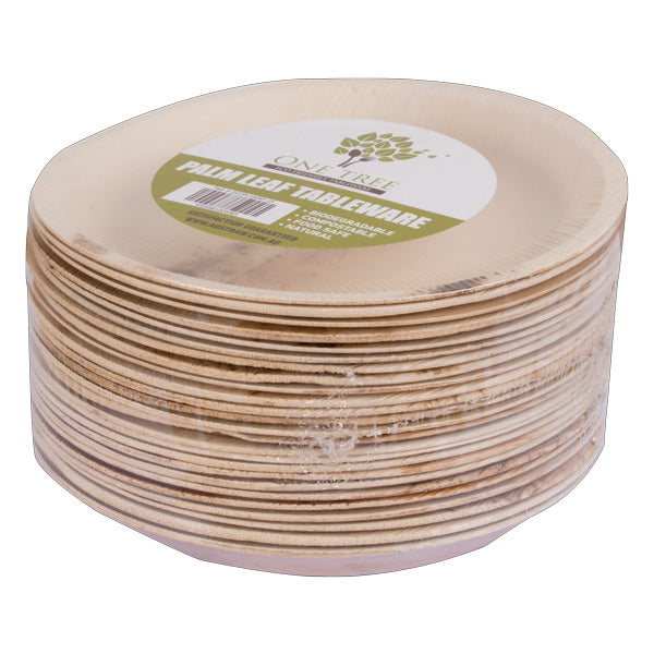 One Tree Palm Leaf Eco Plate - Round Flat 180mm - 100 Pack