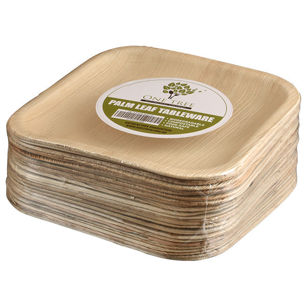 One Tree Palm Leaf Eco Plate - Square Flat 200mm - 100 Pack