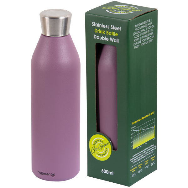 Go Green - Reusable Drink Bottle - Stainless Steel - 600ml D/wall - Berry - 24 Bottles
