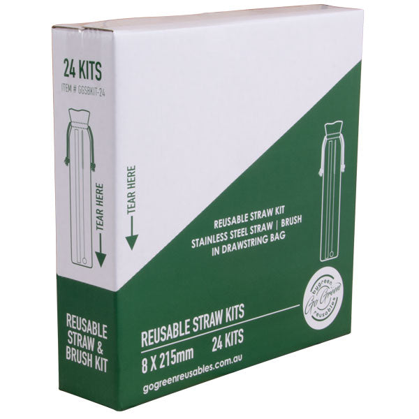 Go Green - Stainless Steel Straw & Brush Kit - 96 Pack (4x24)