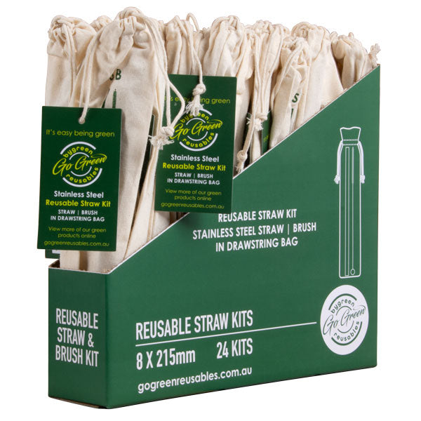 Go Green - Stainless Steel Straw & Brush Kit - 24 Pack