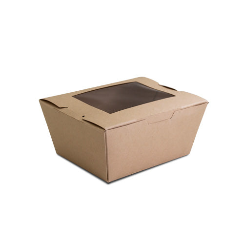 Small Kraft Paper Salad Container W/PLA Window -