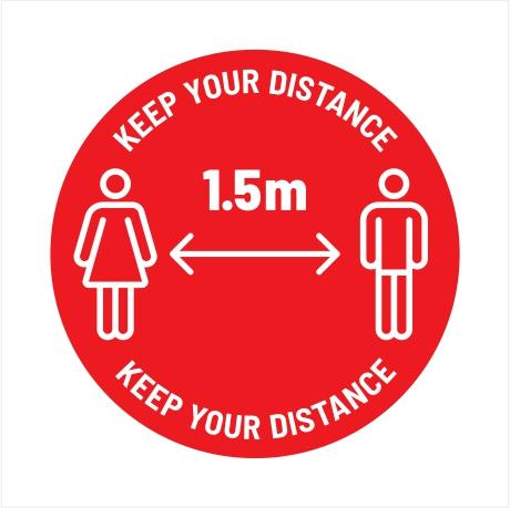 Workplace Safety Floor Sticker - 'Keep Your Distance (1.5m)'