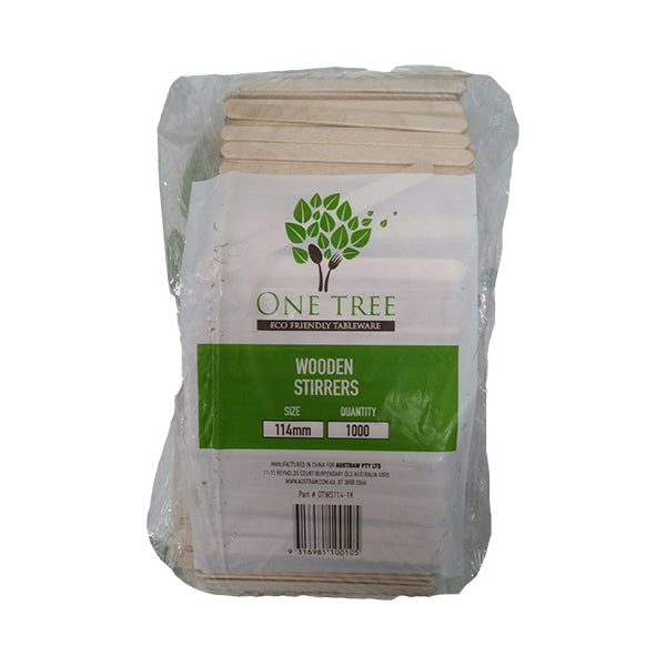 One Tree Wooden Stirrer - 114 X 9mm - 10000 Pack - FSC 100%
