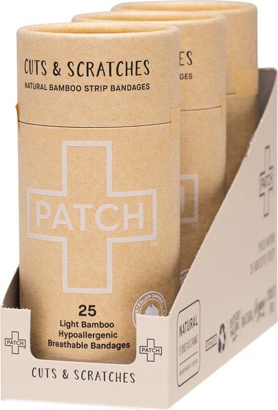 PATCH Natural Bamboo Adhesive Bandages - 3 x 25pcs