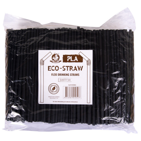 Eco-Straw - PLA Flexi Straw - Black - 3000 Pack (6x500) - New