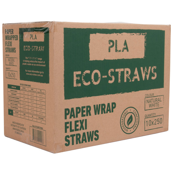 Eco-Straw - PLA Paper Wrap - Flexi Straw - White - 2500 Pack (10x250)