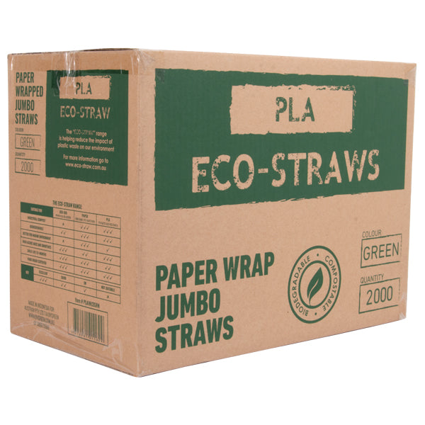 Eco-Straw - PLA Paper Wrap Jumbo Straw - Plain Green - 2000 Pack