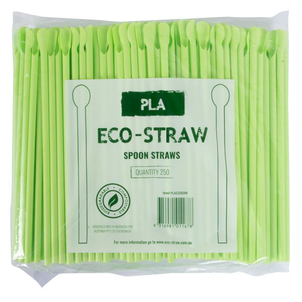 Eco-Straw - PLA Spoon Straw - Green - 2500 Pack (10x250)