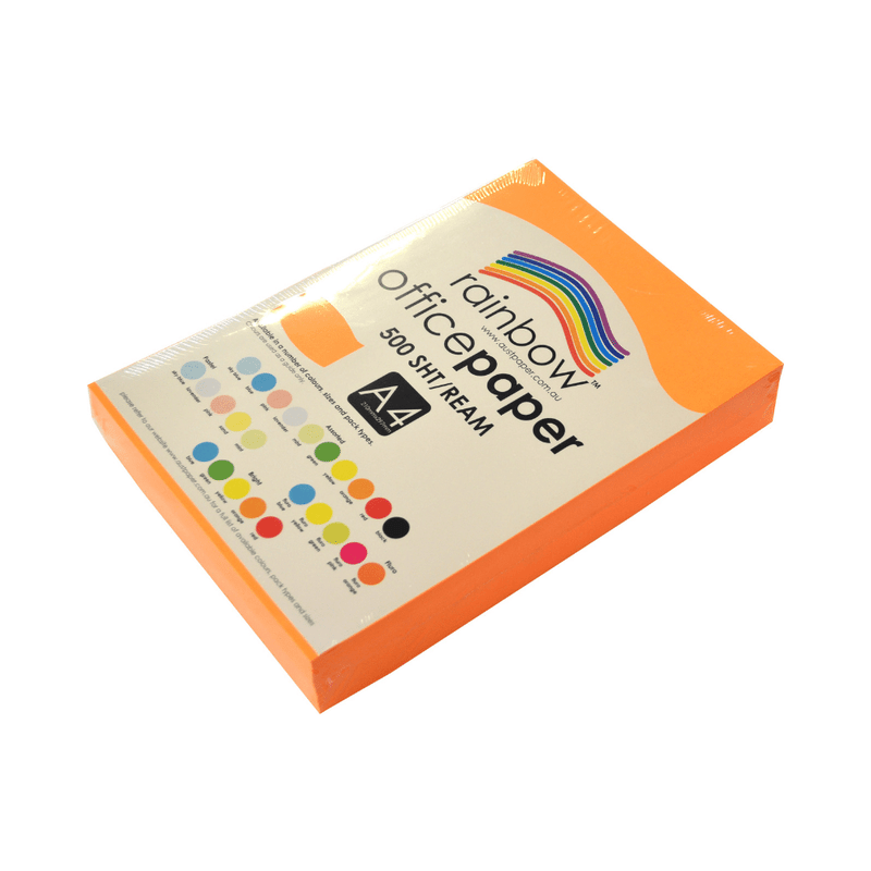 Orange A4 Fluro Coloured Office Paper 500 Sheets