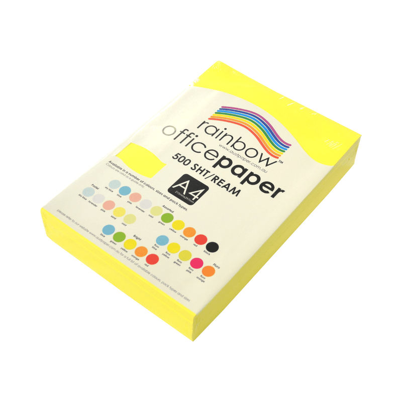 Yellow A4 Fluro Coloured Office Paper 500 Sheets