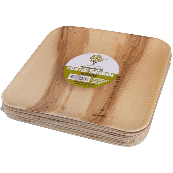 One Tree Palm Leaf Plate - Retail - Square Plate 250mm - 80 Pack