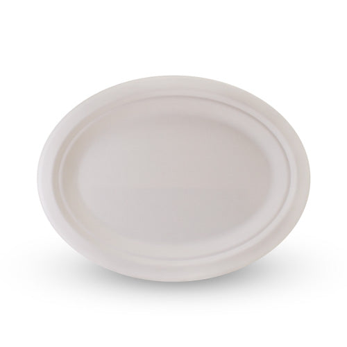 "Sugarcane Oval Plate 10"" x 8"" - 500 Pack"
