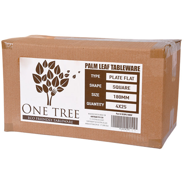 One Tree Palm Leaf Eco Plate - Square Flat 180mm -100 Pack